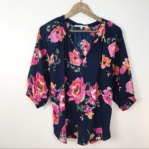 Collective Concepts Navy Pink Floral Peasant Top